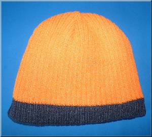 Strickmütze orange-grau