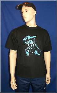 T-Shirt Chainsaw Samurai blau